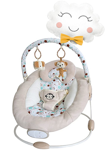 The toy bar on this bouncer includes two plush soft toys that sway with the gentle vibration and soothing music
