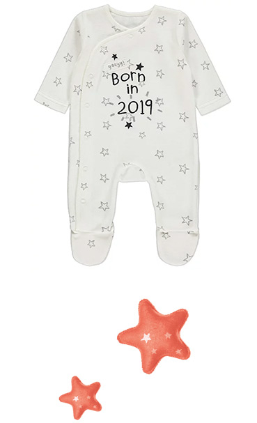 This cotton-rich sleepsuit has a soft, velour feel and press stud fastening for easy dressing