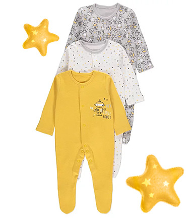 Made from 100% cotton, this pack of 3 sleepsuits will keep your little one snug and comfy
