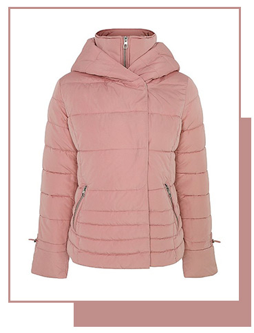This pink padded coat has a shower resistant finish to protect you from those drizzly days