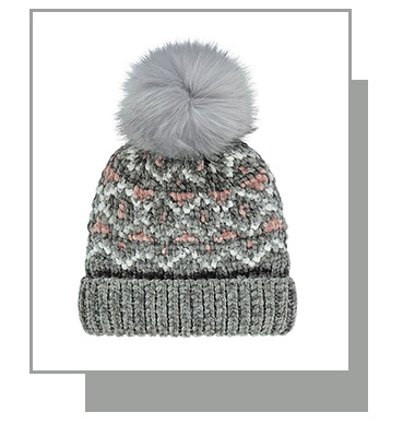 This Sage Chenille Chevron Faux-Fur Pom-Pom Bobble Hat is a great way to keep warm