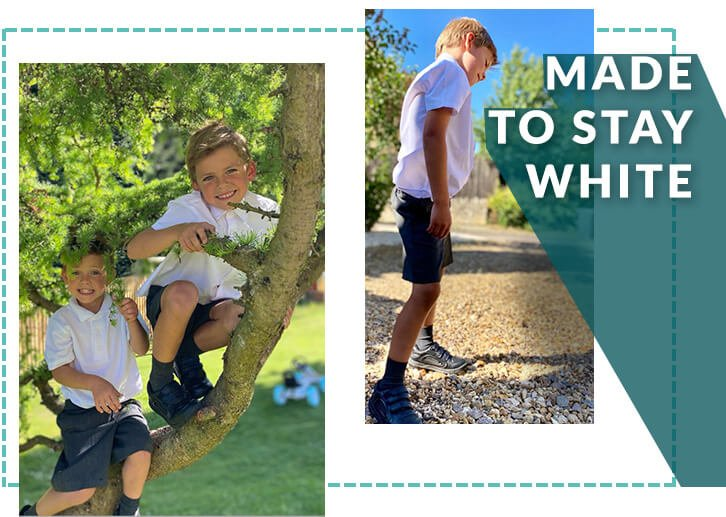 Two young boys climbing a tree wearing white polos, grey shorts, grey socks and black school shoes and a boy wearing a white short sleeved shirt, grey shorts, grey socks and black school shoes
