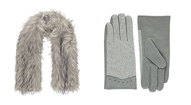 Grey gloves and a faux fur scarf