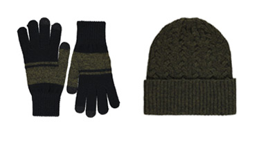 A green hat and glove set