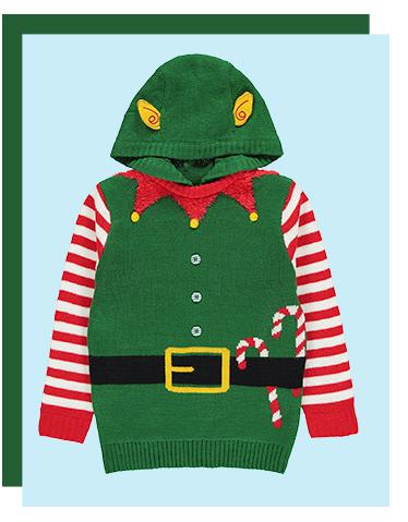 A kids' elf Christmas jumper