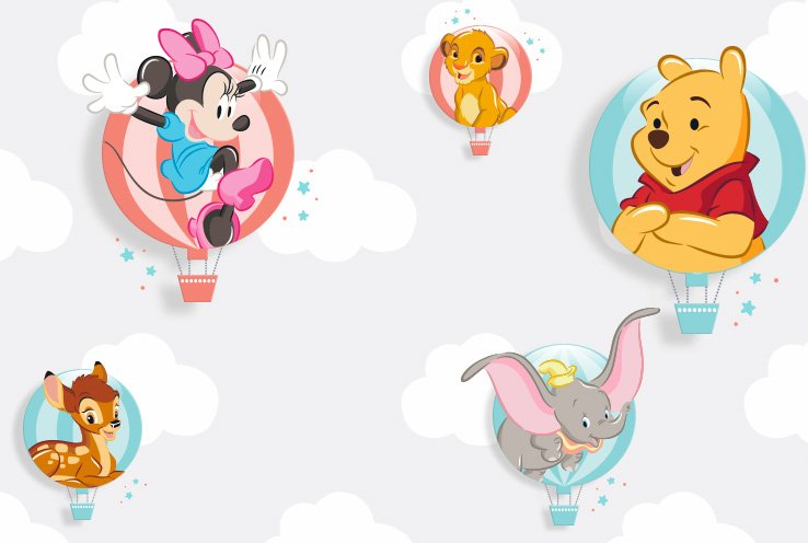 Disney Minnie Mouse, Simba, Winnie the Pooh and Dumbo inside colourful hot air balloons.