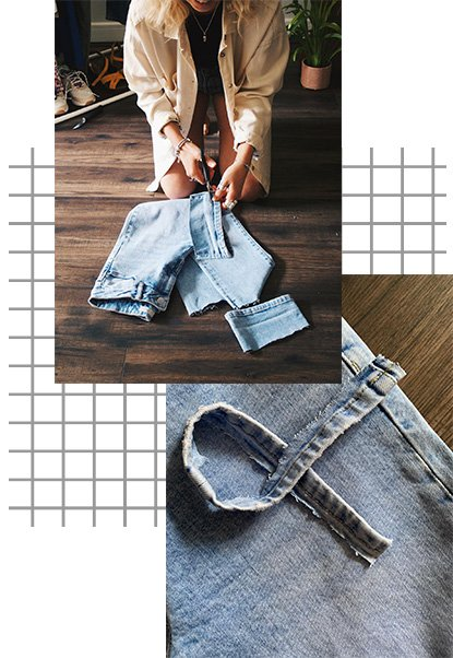 Woman cutting a pair of denimn jeans and a pair of denim jeans being cut for DIY