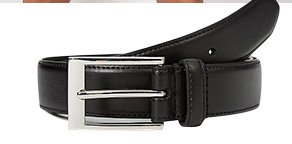 Product shot of black belt with square buckle