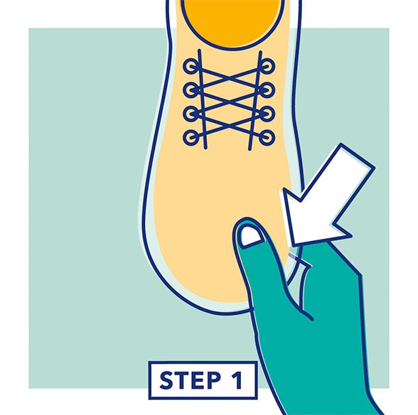 Step 1 - Illustration of a hand testing the fit of the length of a shoe