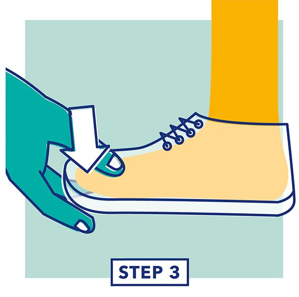 Step 3 - Illustration of a hand testing the fit of the depth of a shoe