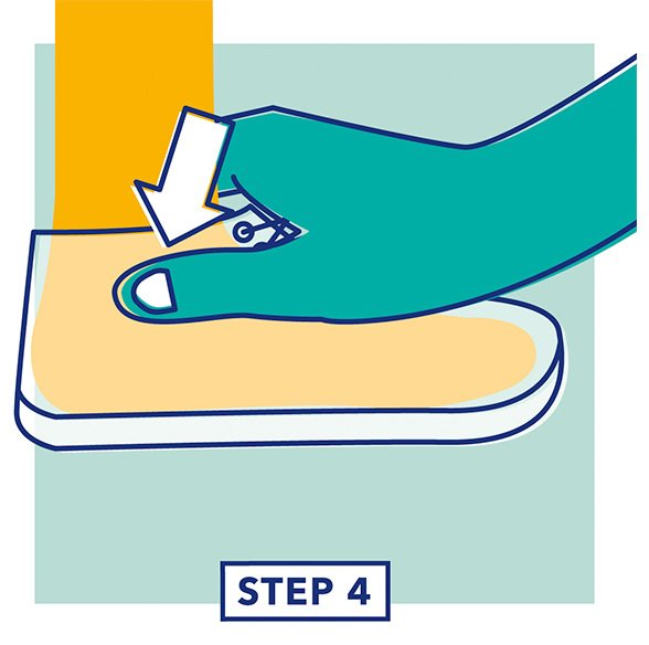 Step 4 - Illustration of a hand testing the fit of the top of a shoe
