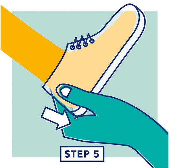Step 5 - Illustration of a hand testing the fit of the heel of a shoe