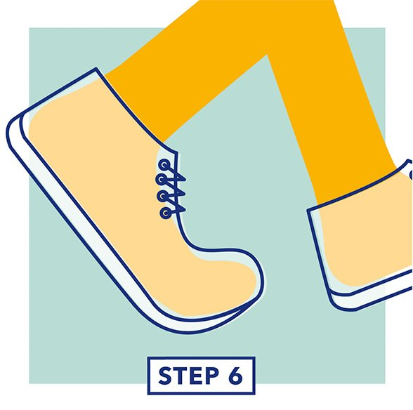Step 6 - Illustration of a child testing the fit of their shoes by walking in them
