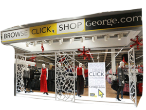 In-store display for George clothing promoting the newly-launched website