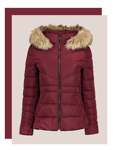 Red fur trim puffa jacket