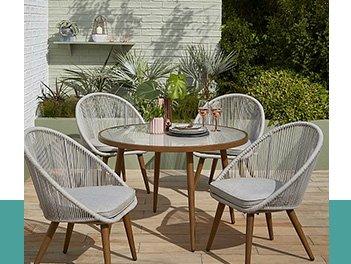 Grey 5 Piece Garden Dining Set
