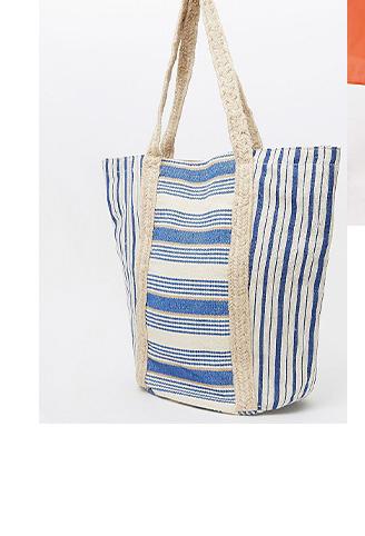 Blue striped jute tote bag