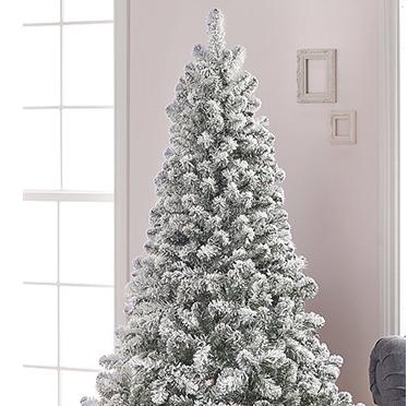A snowy Christmas tree