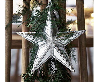 A silver star Christmas tree topper