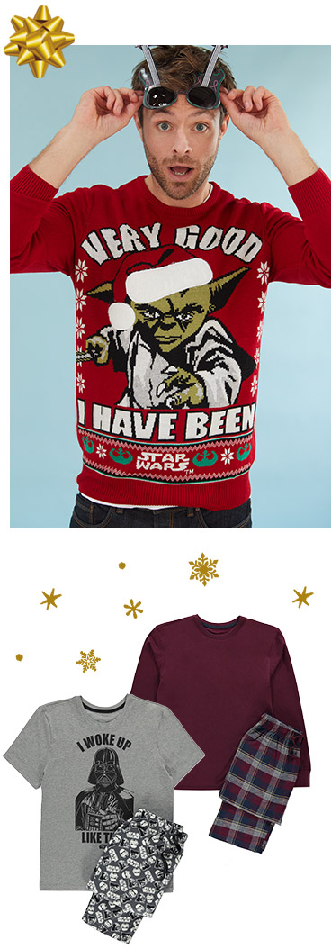 Shop men's Christmas jumpers, t-shirts and accessories