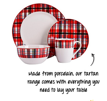 Bring a touch of Scottish style to your table with our Tartan dinnerware range
