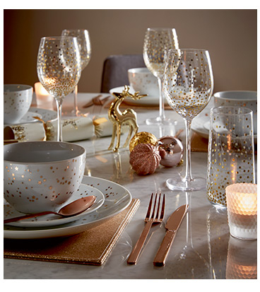 Bring a touch of luxe with gold-effect dinnerware range