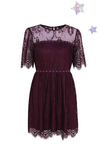 Look lovely in a burgundy lace dress