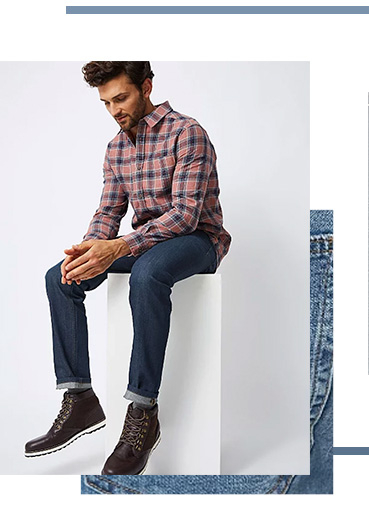 Slim fit jeans have a low rise and slim hip and thigh