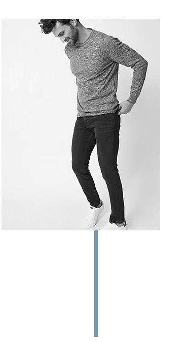 Skinny fit jeans are tapered toward the ankle and made with retention