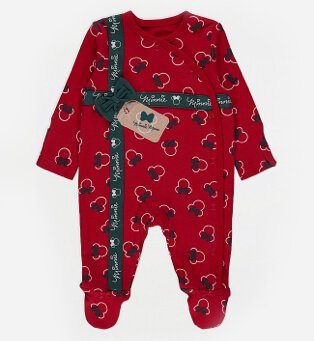 Disney Minnie Mouse red bow sleepsuit.
