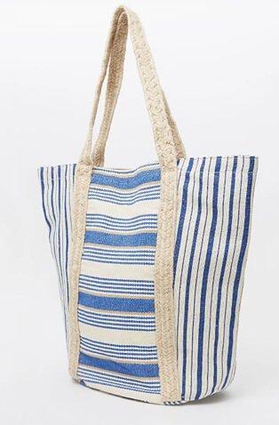 Blue and neutral striped beach bag