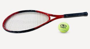 Red and black tennis racket with a tennis ball