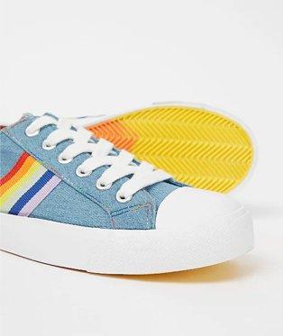 Blue denim rainbow trim trainers.