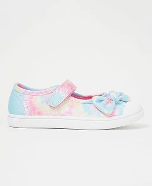 Blue tie dye one strap bow canvas shoes.