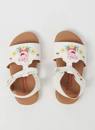 First walkers Peppa Pig white floral deail sandals.