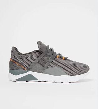 Grey mesh knitted cage trainers.