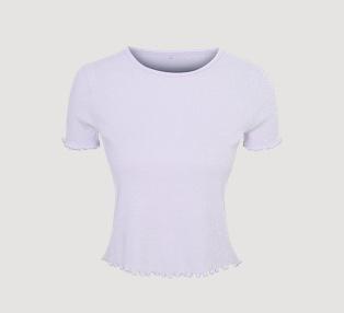 Lilac lettuce trim cropped pyjama top