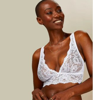 Woman posing in white lace triangle bra.