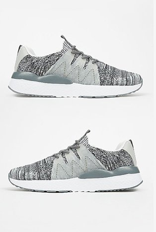 Grey space knitted trainers.