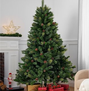 7ft pinecone Christmas tree with presents underneath next to white mantelpiece with gold light-up star.