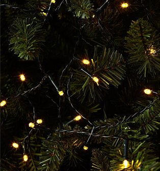 Warm White LED string lights on black cable on Christmas tree branches.