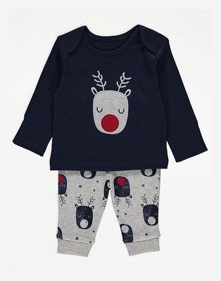 Navy and grey reindeer pyjama set.