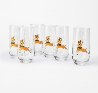Reindeer Hiball Glass 6-Pack.