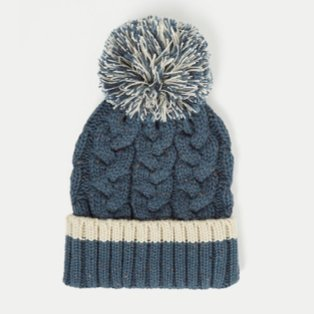 Navy Blue Speckled Chunky Knit Bobble Hat.
