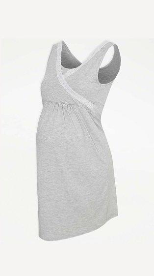 Product shot of maternity grey lace trim nightdress