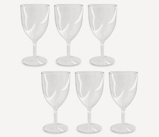 Product shot of disposable plastic wine glasses