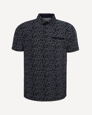 Men's black patterned polo shirt
