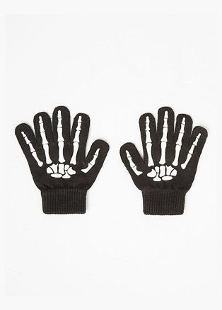 Halloween Black Glow in the Dark Skeleton Gloves