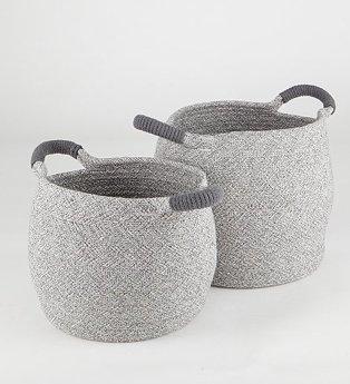 Grey storage baskets