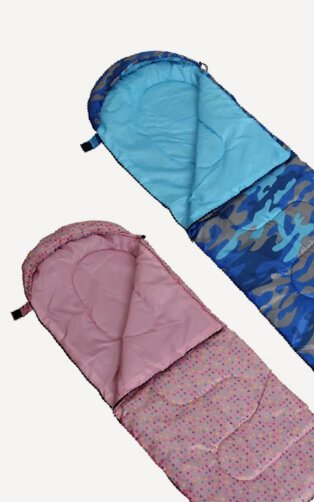 Two kids sleeping bags laid out flat, one dotty pink and one camo blue